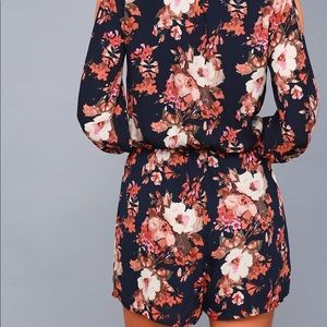 Lulu's Dresses - LUCK&LOVE NAVY FLORAL PRINT LONG SLEEVE ROMPER